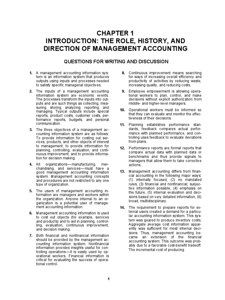 Solution Manual, Managerial Accounting Hansen Mowen 8th Editions_ch 1 |  Management Accounting | Supply Chain