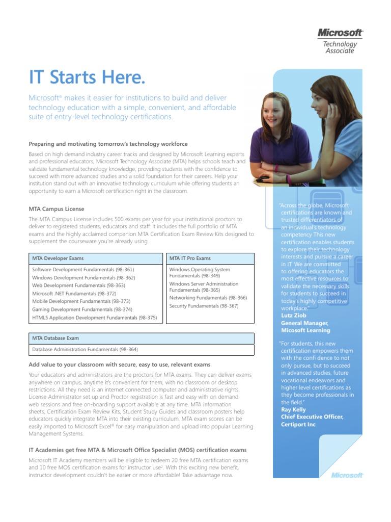 Mta Datasheet Professional Certification Microsoft