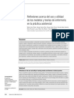 Reflexiones Acerca Del Uso y Utilidad de Los Modelos y Teorias de Enefremeria en La Practica Asistencial