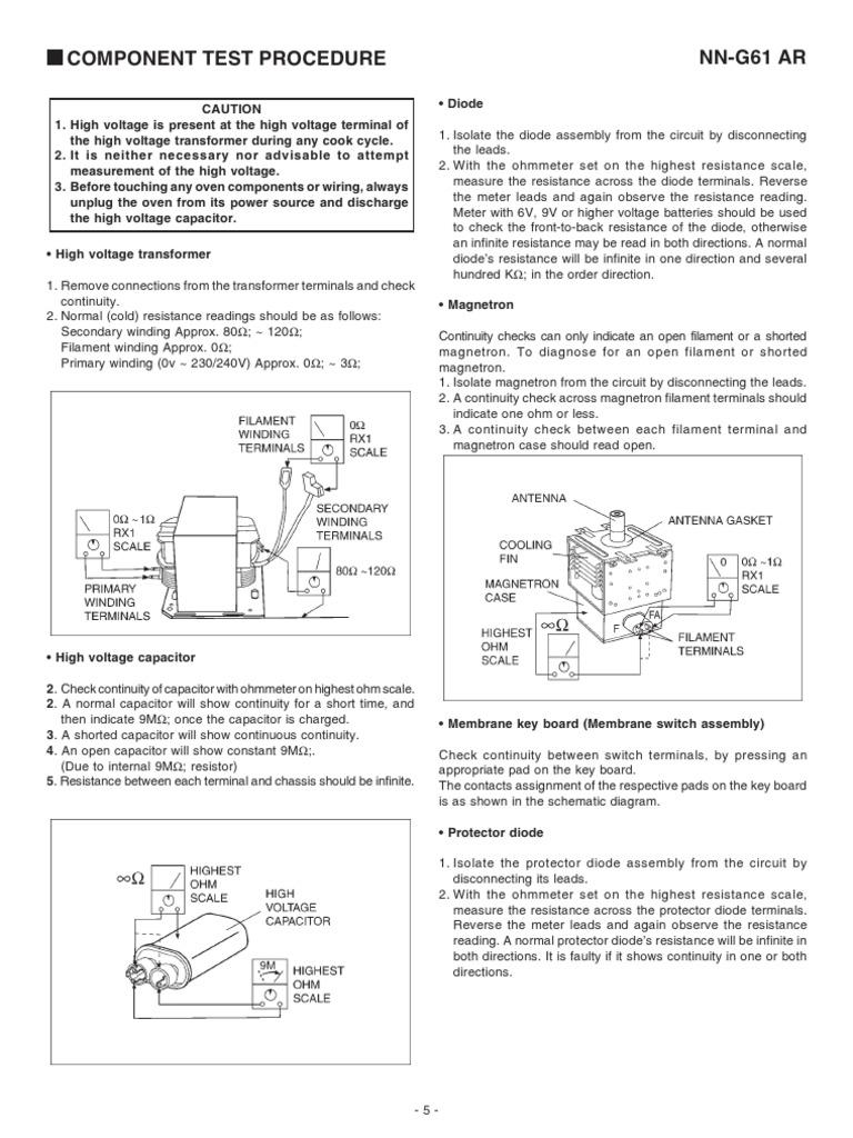 Prueba De Componentes Un Horno Micro On Das Electrical S Meter Circuit Diagram Resistance And Conductance Capacitor