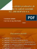 Evaluarea Calitatii Produselor de Panificatie in Cadrul Societatii - SC Demopan SA
