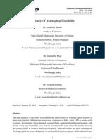 A Study of Managing Liquidity