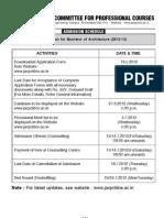 b. Arch Admission Schedule