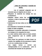 NORMAS DEL ÁREA DE LENCERÍA Y DISEÑO DE MODA