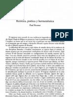 Ricoeur- Retórica, Poética y Hermenéutica