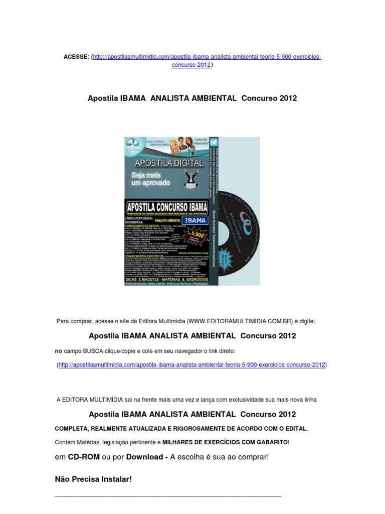 IBAMA APOSTILA GRATIS BAIXAR 2012 CONCURSO
