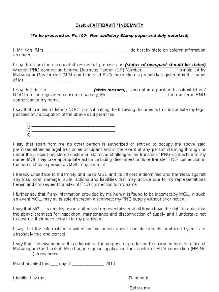 Affidavit format affidavit indemnity spiritdancerdesigns Images