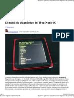 El menú de diagnóstico del iPod Nano 6G