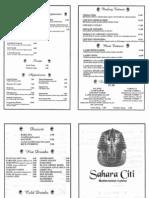 Sahara Citi menu