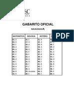 GABARITO UDESC 2012.1 (VERÃO 2011)