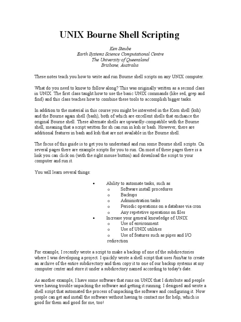 UNIX Bourne Shell Scripting | Command Line Interface | Filename