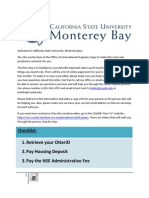 CSU Monterey Bay 2012 NSE Welcome Letter