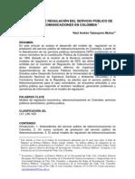 Modelo de regulación del servicio publico de telecomunicaciones en Colombia