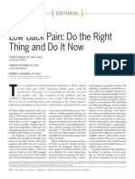 Low Back Pain Do the Right Thing and Do It Now