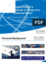Perspectives of A Commissioner in Times of A Historical EventNRC Commissioner William C. OstendorffApril 13, 2011