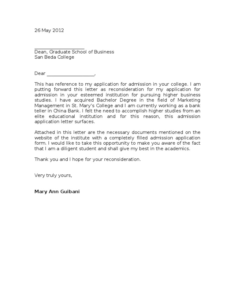 Sample reconsideration letter altavistaventures Image collections