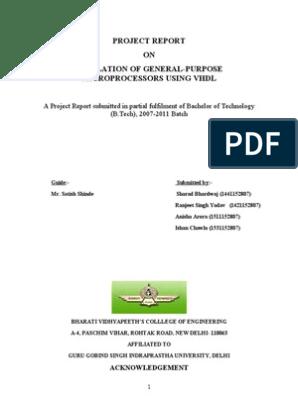 Minor Project Final Report + 16 bit microprocessor using