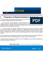 Properties of Rational Numbers Worksheets