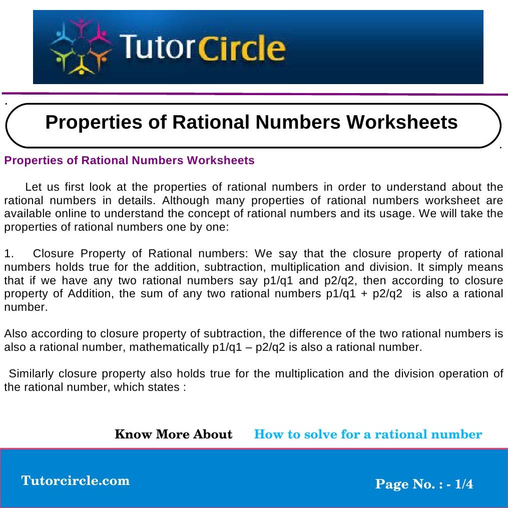 Workbooks properties of numbers worksheets : Properties of Rational Numbers Worksheets | Multiplication ...