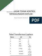 Dasar-dasar Teknik Kontrol (Matlab)