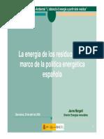 La energía de los residuos en el marco de la política energética española(Es)/ The energy of residues in the framework of Spanish energetic policy(Spanish)/ Hondakinen energia espainiako politika energetikoaren esparruan(Es)
