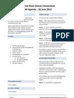 Agenda for AGM - 18 June 2012