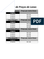 Tabela de Preços de Lonas