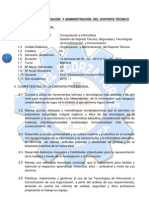 SÍLABO DE ORGANIZACION Y ADMINISTRACION DE SOPORTE TECNICO