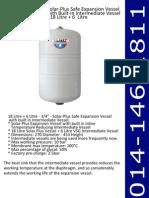 Solar-Plus Safe Expansion Vessel With Built-In Intermediate Vessel 18 Litre + 6 Litre