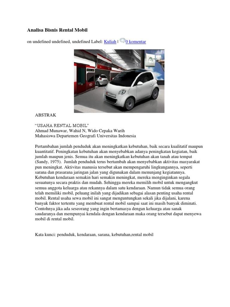 Analisa Bisnis Rental Mobil