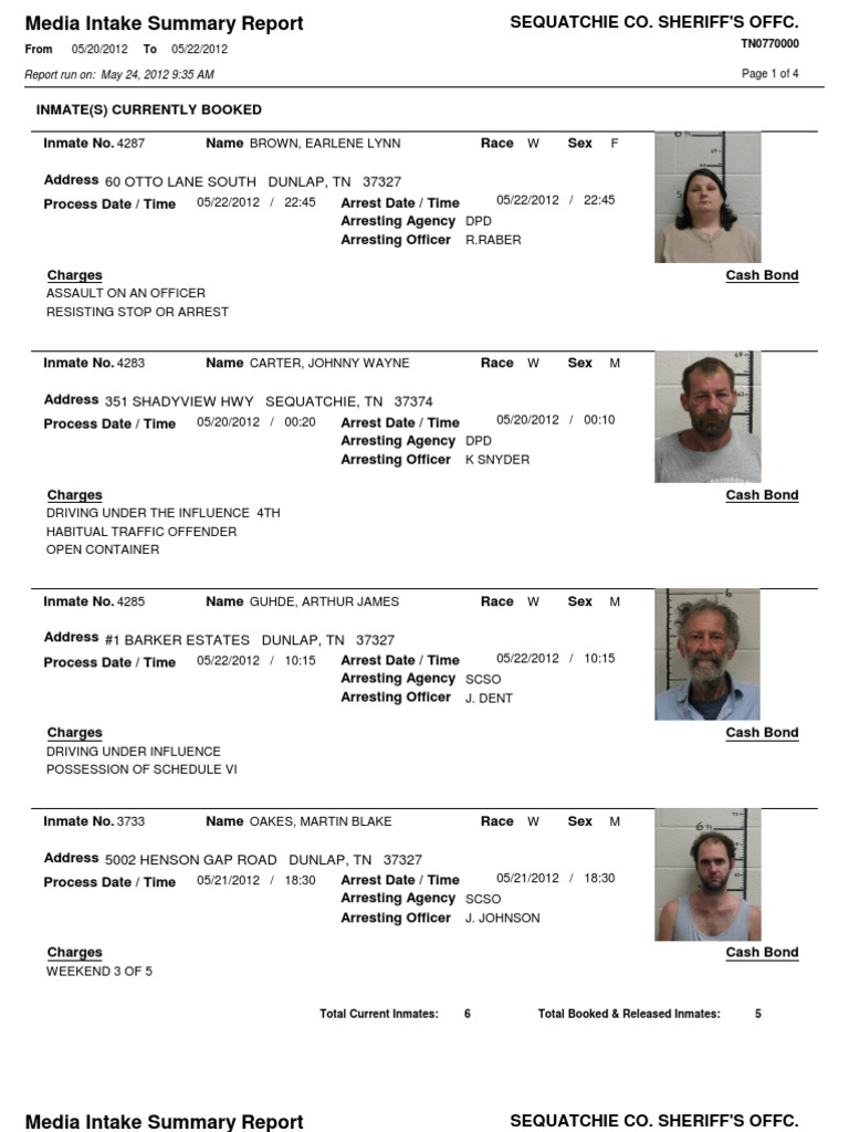 Sequatchie County Arrests From 5-20-20-2012 to 5-22-2012