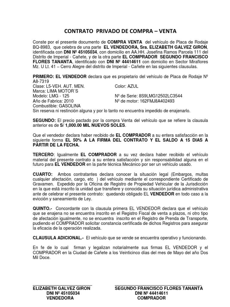 Contrato de compra venta de vehiculo para imprimir for Busco piso compra