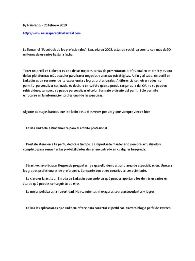 Características de linkedin
