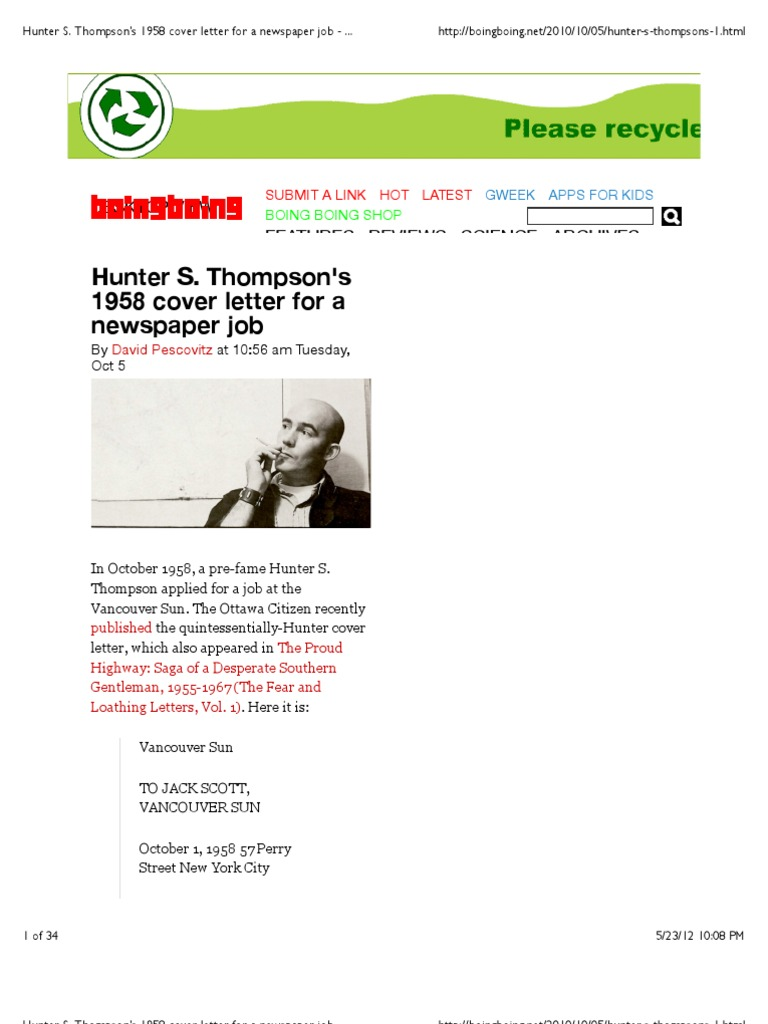 Hunter s thompson cover letter choice image cover letter sample hunter s thompsons 1958 cover letter for a newspaper job boing hunter s thompsons 1958 cover madrichimfo Images