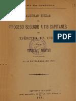 Para la historia. Algunas piezas del proceso seguido a 118 capitanes del Ejército de Chile por el Tribunal Militar. 02.Nov.1891.