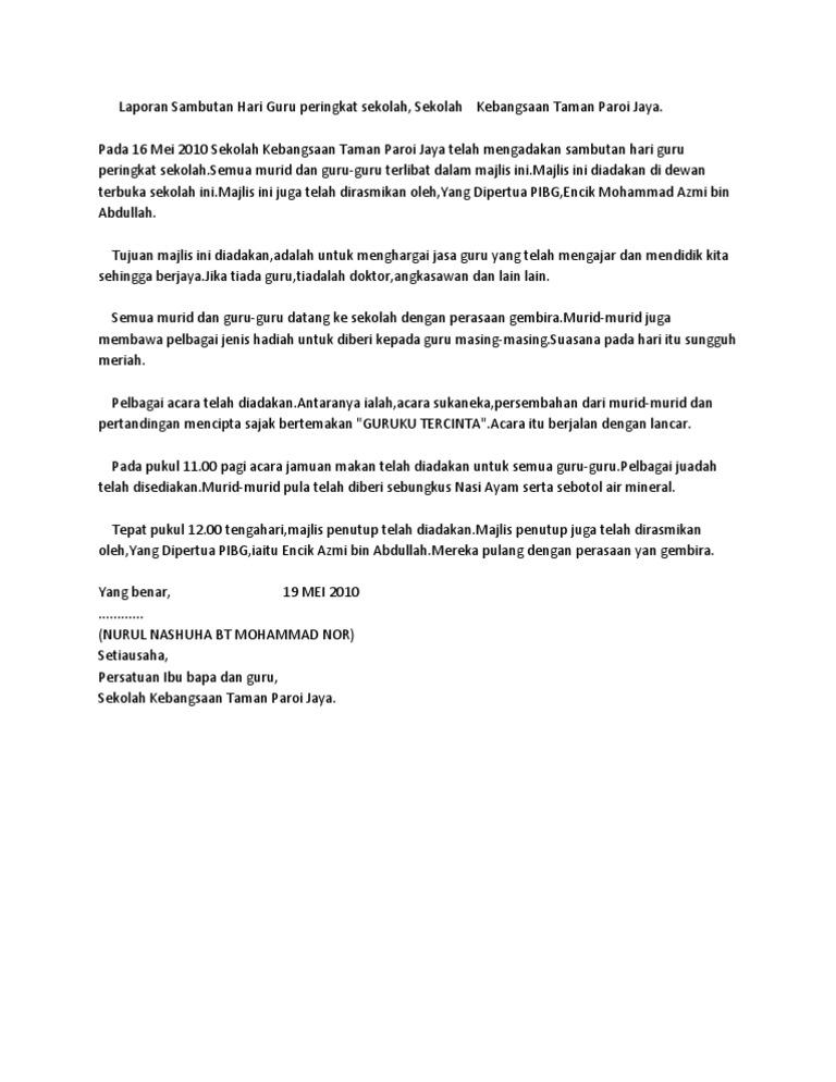 Laporan Sambutan Hari Guru Peringkat Sekolah