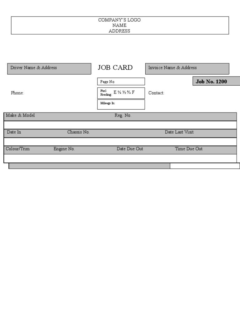 Sample auto workshop job card pronofoot35fo Gallery