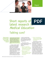 Short Reports of the Latest Research in Medical Education - Talking Cure