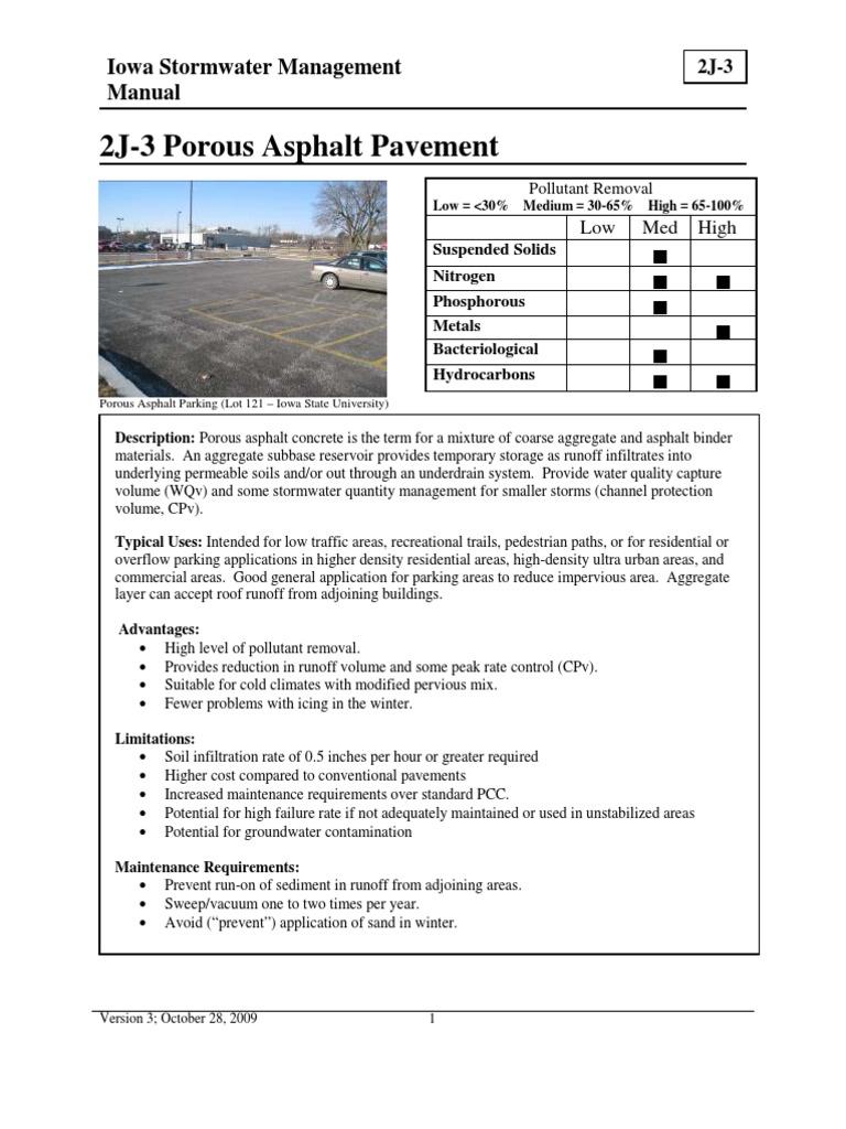 2j-3 porous asphalt pavement | porosity | road surface.