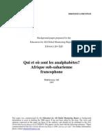 Qui et où sont les analphabètes ? Afrique sub-saharienne francophone