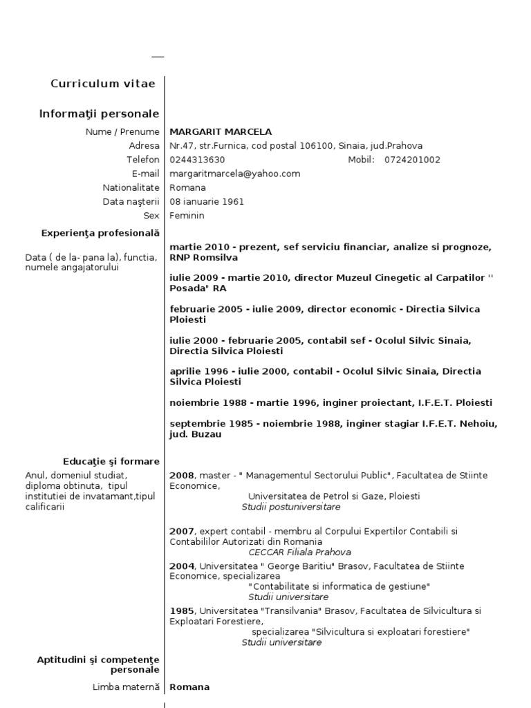 Model cv curriculum vitae european romana yelopaper Images