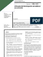 NBR12317 - Verificação de Desempenho de Aditivos para Concreto (NB 1401)