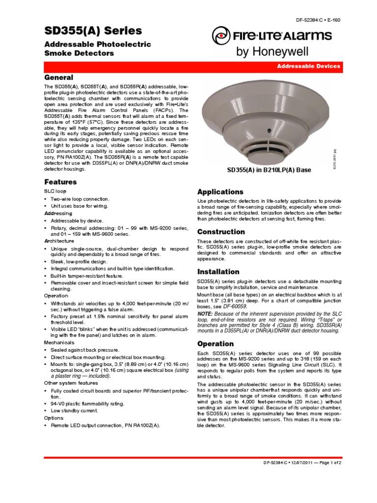 Df 52384 Smoke Detector Fire Lite Relay Electrical Wiring Signaling Line Circuit Manual Firelite Alarms