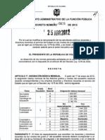 Decreto 0826 de 2012 - Salarios Docentes 1278