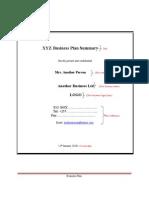 Business Plan Summary Workbook- FINAL
