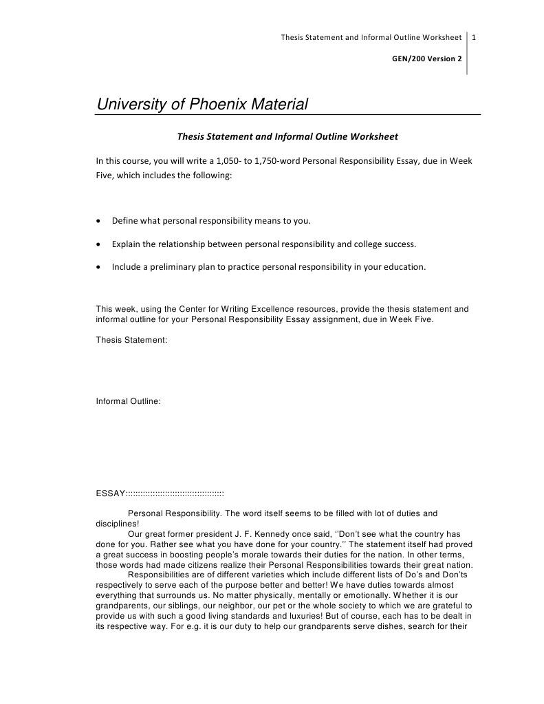 Gen200 r2 Thesis Statement Outline Worksheet   Essays   Thesis