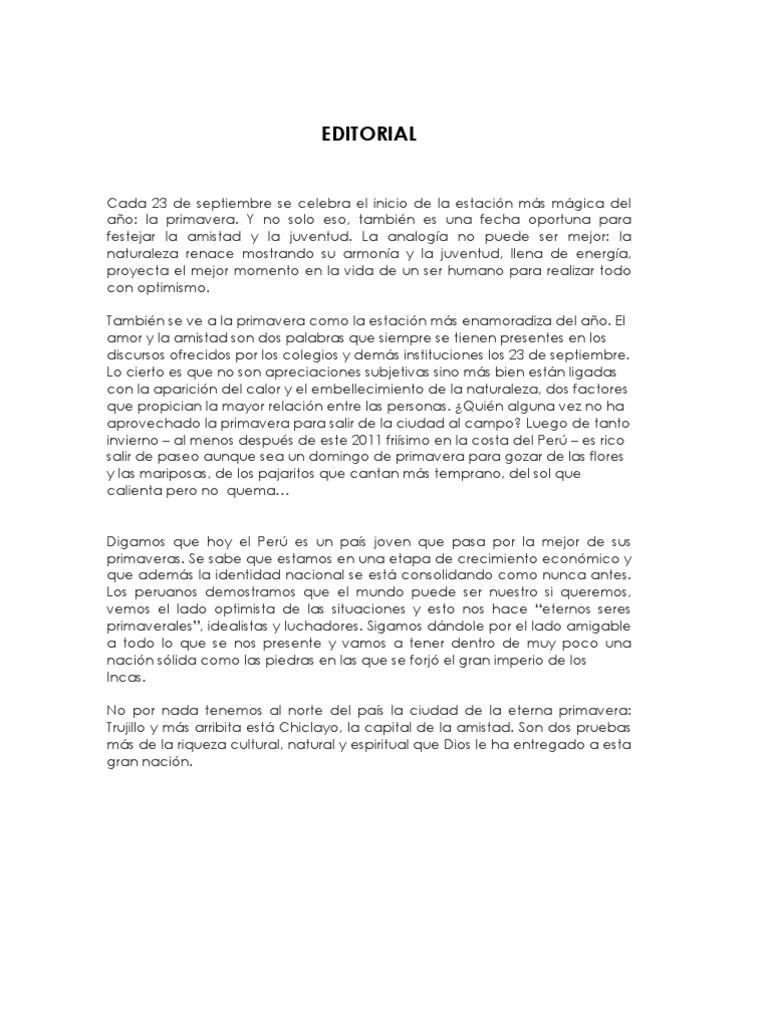 Periodico mural primavera for Editorial de un periodico mural