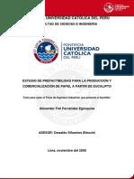 Estudio Pre-Factibilidad Producción y Comercialización de Papel del Eucalipto