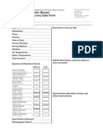 Freshwater Mussel Field Survey Data Form