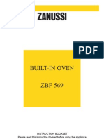 Zanussi ZBF 569 Oven Manual